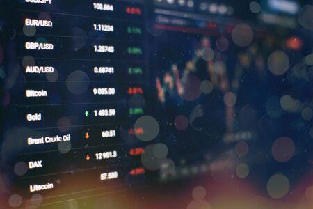 Foto de Stock index on the computer monitor . Financial data on a monitor which including of Market Analyze. Bar graphs, Diagrams, financial figures. - Imagen libre de derechos