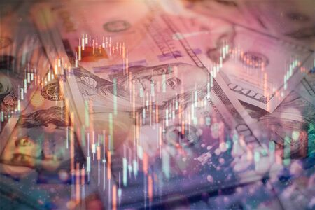 Photo pour trading on the currency market Forex. Currency exchange rate for world currency: US Dollar, Euro, Frank, Yen. Financial, money, global finance, stock market background - image libre de droit