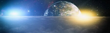 Foto de Moon surface and Earth on the horizon. Space art fantasy. - Imagen libre de derechos