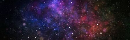Photo for Panoramic looking into deep space. Dark night sky full of stars. The nebula in outer space. - Royalty Free Image