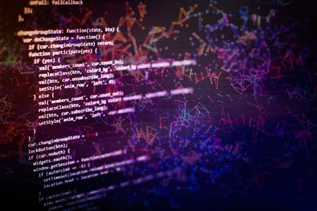 Photo pour Desktop PC monitor photo. Javascript functions, variables, objects. Project managers work new idea. Future technology creation process. - image libre de droit