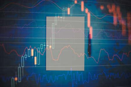 Foto de Falling stock markets, stocks for coronavirus, analysis for professional technical analysis on the monitor of a computer. - Imagen libre de derechos