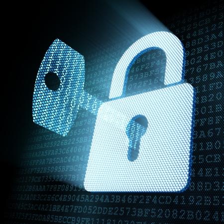 Photo pour Digital key in padlock keyhole, 3d render - image libre de droit