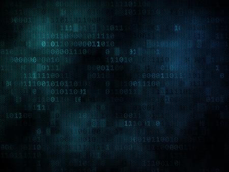 Pixeled binary background on digital screen 3d render