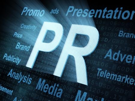 Pixeled word PR on digital screen 3d render