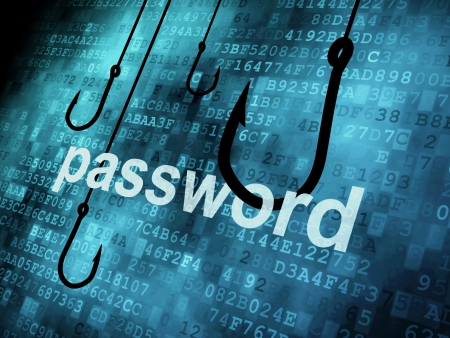 Photo pour The word password hooked by fishing hook, information security concept  - image libre de droit