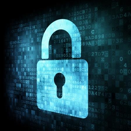 Photo pour Security concept: Lock on digital screen, contrast, 3d render - image libre de droit