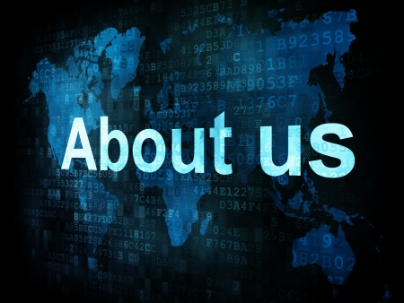 Information technology IT concept  pixelated words About us on digital screen, 3d render