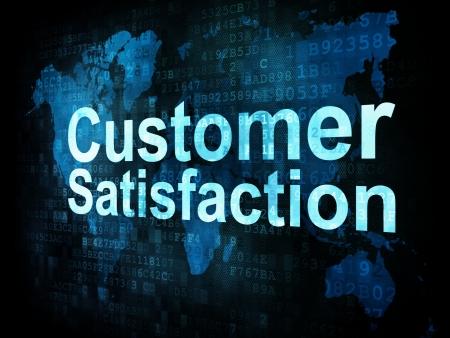 Marketing concept: pixelated words Customer Satisfaction on digital screen, 3d render