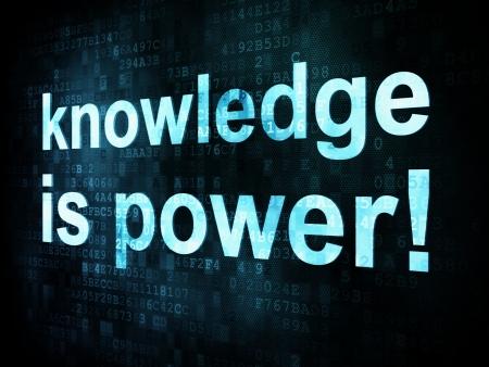 Foto de Education and learn concept: pixelated words knowledge is power on digital screen, 3d render - Imagen libre de derechos
