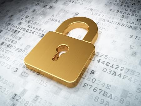 Photo pour golden closed padlock on digital background, 3d render - image libre de droit