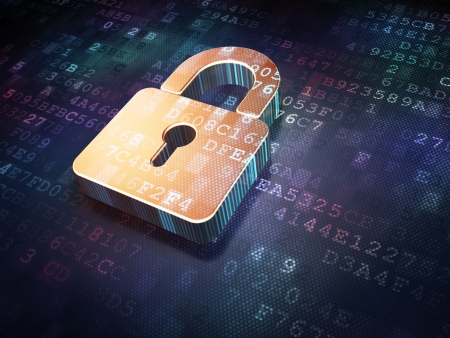 Photo pour Security concept: Golden closed padlock on digital background, 3d render - image libre de droit