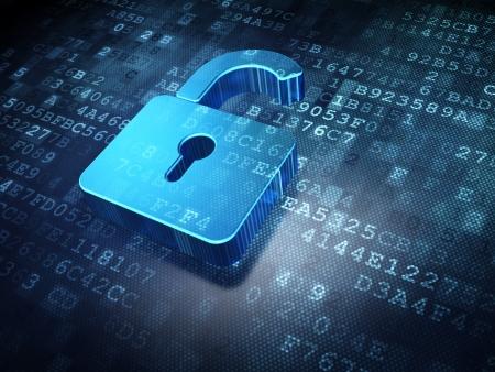 Photo pour Security concept: blue opened padlock on digital background, 3d render - image libre de droit