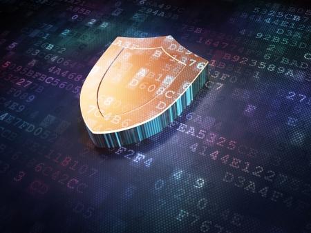 Protection concept  Golden Shield on digital background, 3d render