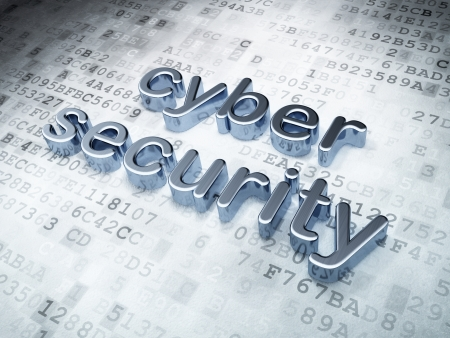 Privacy concept  Silver Cyber Security on digital background, 3d render