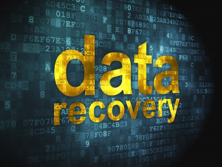 Information concept  pixelated words Data Recovery on digital background, 3d render