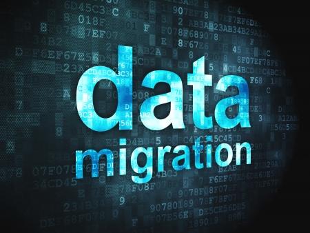 Information concept  pixelated words Data Migration on digital background, 3d render
