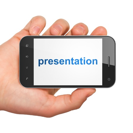 Advertising concept  hand holding smartphone with word Presentation on display  Generic mobile smart phone in hand on White background