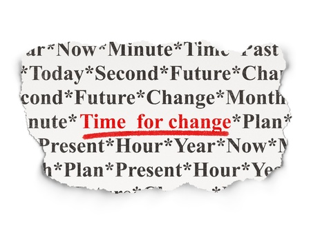 Time concept  torn newspaper with words Time for Change on Array background, 3d render