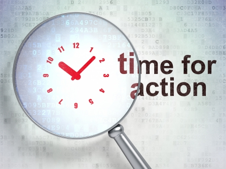 Magnifying optical glass with Clock icon and Time for Action word on digital background, 3d render