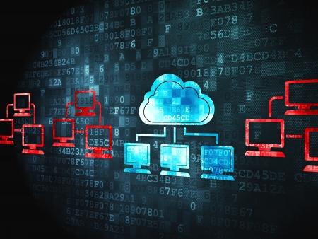 Cloud computing concept  pixelated Cloud Technology icon on digital background, 3d render