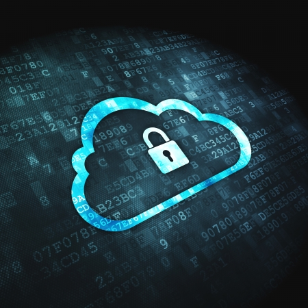 Networking concept  pixelated Cloud Whis Padlock icon on digital background, 3d render