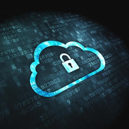 Photo pour Networking concept  pixelated Cloud Whis Padlock icon on digital background, 3d render - image libre de droit