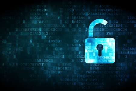 Photo pour Privacy concept  pixelated Opened Padlock icon on digital background, empty copyspace for card, text, advertising - image libre de droit