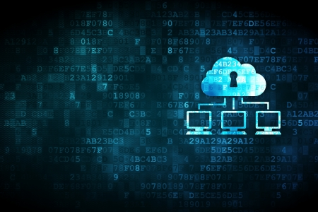 Networking concept  pixelated Cloud Network icon on digital background, empty copyspace for card, text, advertising