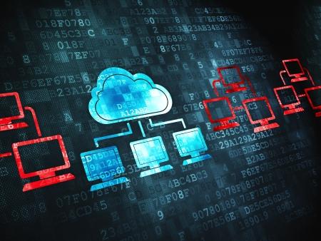 Foto de Cloud computing concept  pixelated Cloud Technology icon on digital background, 3d render - Imagen libre de derechos