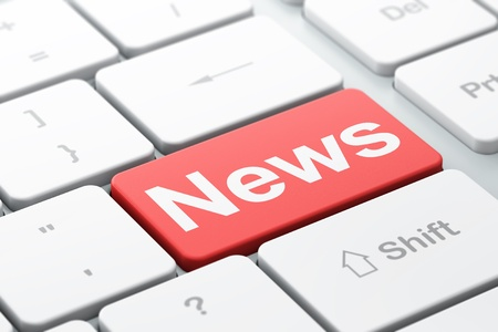 News concept  computer keyboard with word News, selected focus on enter button background, 3d render