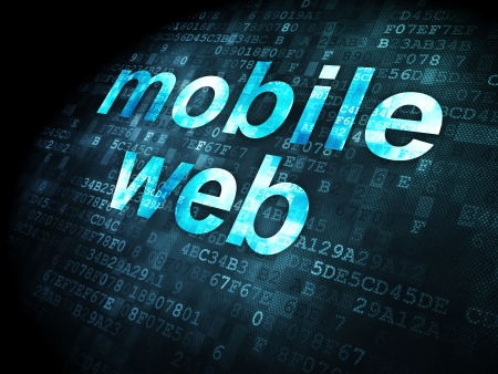 SEO web development concept: pixelated words Mobile Web on digital background, 3d render