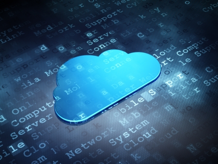 Cloud technology concept: Blue Cloud on digital background, 3d render