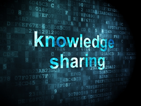 Education concept: pixelated words Knowledge Sharing on digital background, 3d render