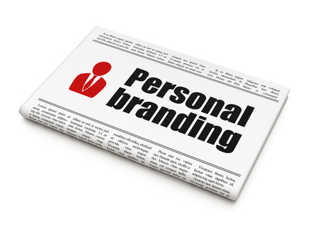 Advertising news concept: newspaper headline Personal Branding and Business Man icon isolated on White , 3d render