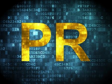 Marketing concept: pixelated words PR on digital , 3d render