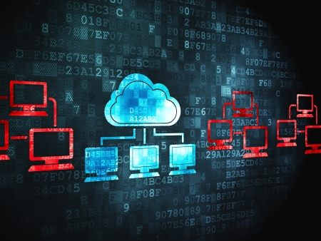 Cloud networking concept: pixelated Cloud Technology icon on digital background, 3d render