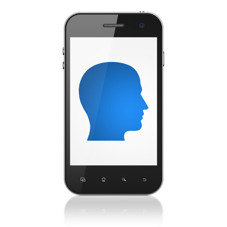 Marketing concept: smartphone with Head icon on display. Mobile smart phone on White , cell phone 3d render