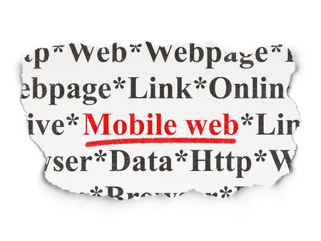 Web design concept: torn newspaper with words Mobile Web on Paper background, 3d render