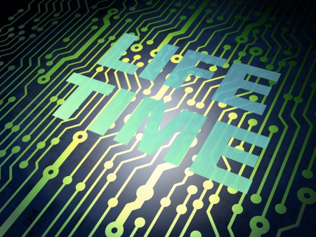 Time concept: circuit board with Metal word Life Time, 3d render