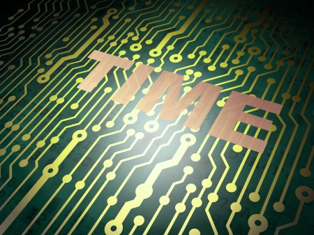 Timeline concept: circuit board with Metal word Time, 3d render