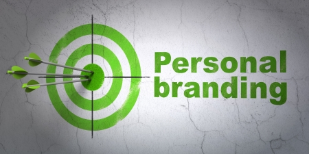 Success advertising concept: arrows hitting the center of target, Green Personal Branding on wall background, 3d render
