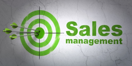 Success advertising concept: arrows hitting the center of target, Green Sales Management on wall background, 3d render