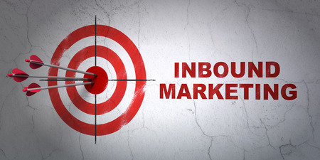 Success business concept: arrows hitting the center of target, Red Inbound Marketing on wall background, 3d render