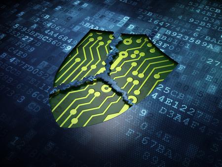 Photo pour Security concept: digital screen with icon Broken Shield, 3d render - image libre de droit