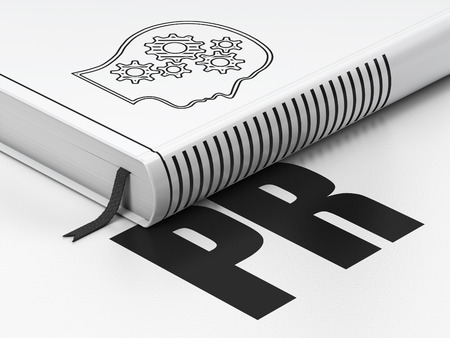 Marketing concept: closed book with Black Head With Gears icon and text PR on floor, white background, 3d render