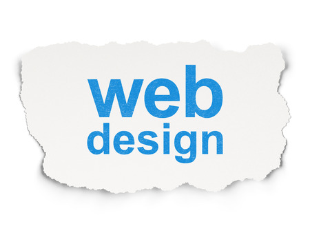 Web design concept: torn paper with words Web Design on Paper background, 3d render