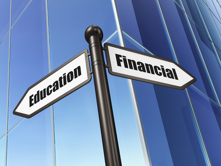 Education concept: sign Financial Education on Building background, 3d render