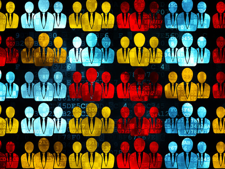 Marketing concept: Pixelated multicolor Business People icons on Digital background, 3d render