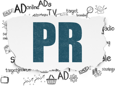 Marketing concept: Painted blue text PR on Torn Paper background with  Hand Drawn Marketing Icons, 3d render
